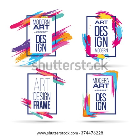 Vector frame for text and labels in the style of Modern Art graphics for hipsters background paint
