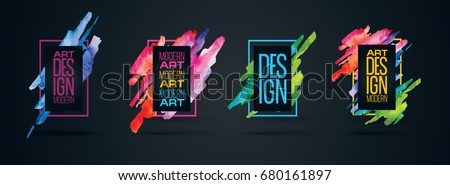 Vector frame for text and labels in the style of Modern Art graphics for hipsters background paint, design element for design business cards, invitations, gift cards, flyers and brochures #680161897