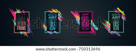 Vector frame for text Modern Art graphics for hipsters . dynamic frame black background with gold. element for design business cards, invitations, gift cards, flyers and brochures. frame set  #750313696