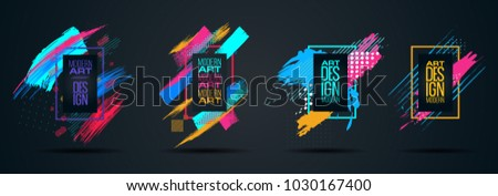 Vector frame for text Modern Art graphics for hipsters . dynamic frame stylish geometric black background with gold. element for design business cards, invitations, gift cards, flyers and brochures #1030167400