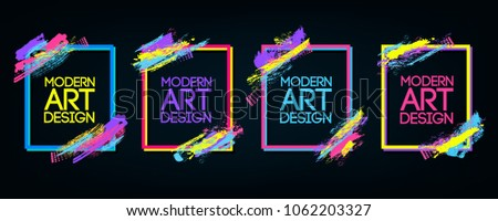 Vector frame for text Modern Art graphics for hipsters . dynamic frame stylish geometric black background . element for design business cards, invitations, gift cards, flyers and brochures. #1062203327