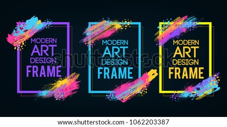 Vector frame for text Modern Art graphics for hipsters . dynamic frame stylish geometric black background . element for design business cards, invitations, gift cards, flyers and brochures. #1062203387