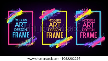 Vector frame for text Modern Art graphics for hipsters . dynamic frame stylish geometric black background . element for design business cards, invitations, gift cards, flyers and brochures. #1062203393