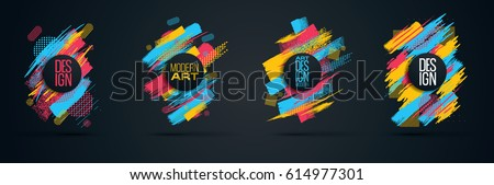 Vector frame for text Modern Art graphics for hipsters . dynamic frame stylish geometric black background with gold. element for design business cards, invitations, gift cards, flyers and brochures stock photo