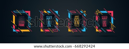 Vector frame for text Modern Art graphics for hipsters . dynamic frame stylish geometric black background with gold. element for design business cards, invitations, gift cards, flyers and brochures #668292424