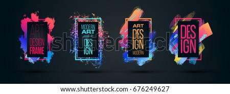 Vector frame for text Modern Art graphics for hipsters . dynamic frame stylish geometric black background with gold. element for design business cards, invitations, gift cards, flyers and brochures #676249627