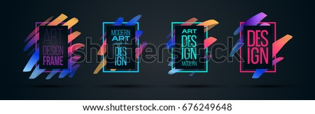 Vector frame for text Modern Art graphics for hipsters . dynamic frame stylish geometric black background with gold. element for design business cards, invitations, gift cards, flyers and brochures #676249648