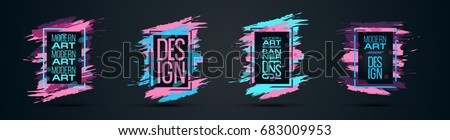 Vector frame for text Modern Art graphics for hipsters . dynamic frame stylish geometric black background. element for design business cards, invitations, gift cards, flyers and brochures #683009953