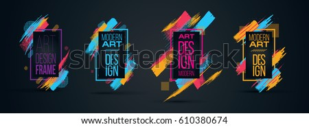 Vector frame for text Modern Art graphics for hipsters . dynamic frame stylish geometric. element for design business cards, invitations, gift cards, flyers and brochures stock photo