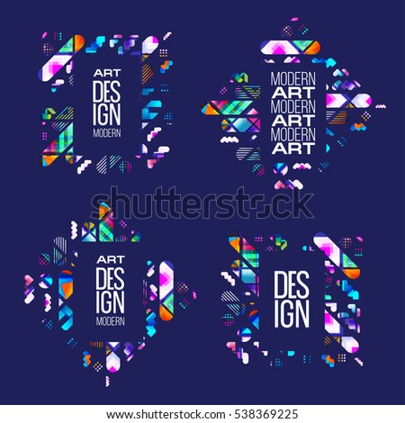 Vector frame for text Modern Art graphics for hipsters stylish, dynamic frame background of geometric shapes. design element for design business cards, invitations, gift cards, flyers and brochures.