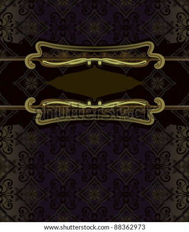 Vector frame in a gold frame for the text. Ideal as an invitation or announcement. The background is designed as a seamless pattern.