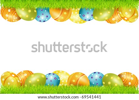 Vector Frame Of Easter Eggs And Green Grass