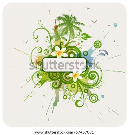 Vector frame, palms, dolphins, plumeria flowers.
