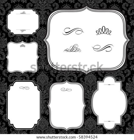 Vector frame set and seamless pattern. Seamless tile included. Easy to change colors.