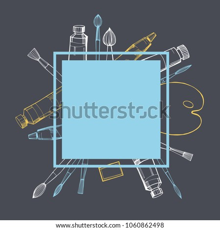 Vector frame with  artistic paintbrushes and paints.