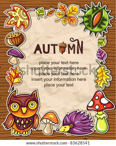 Vector frame with autumnal nature symbols on wooden background, with space for your text.