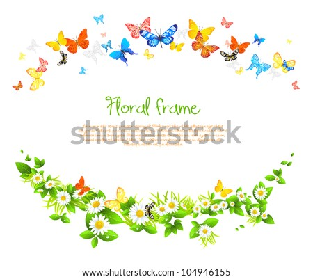 Vector frame with beautiful butterflies and daisy with space for text.