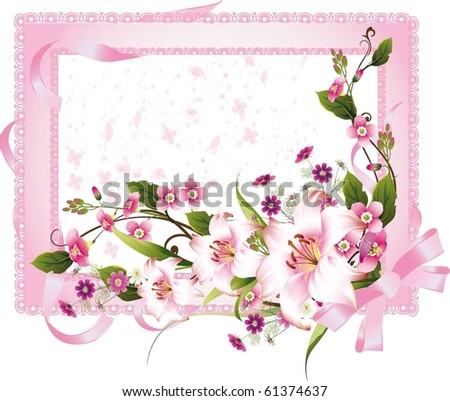 vector frame with beautiful flowers