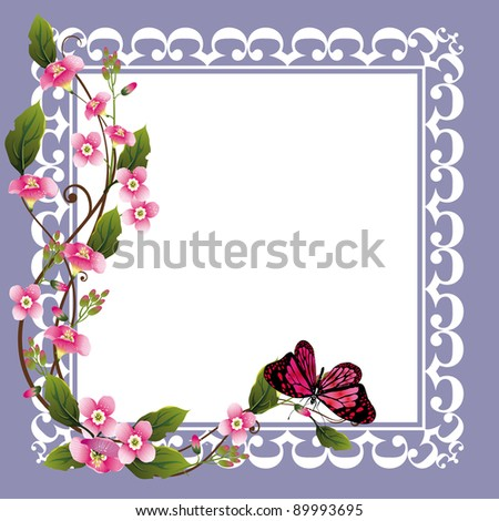 vector frame with beautiful flowers and butterfly - stock vector