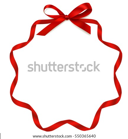 Vector frame with bow and red ribbon. Decorative holiday frame