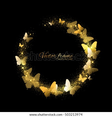 Vector frame with butterflies and gold sparkles