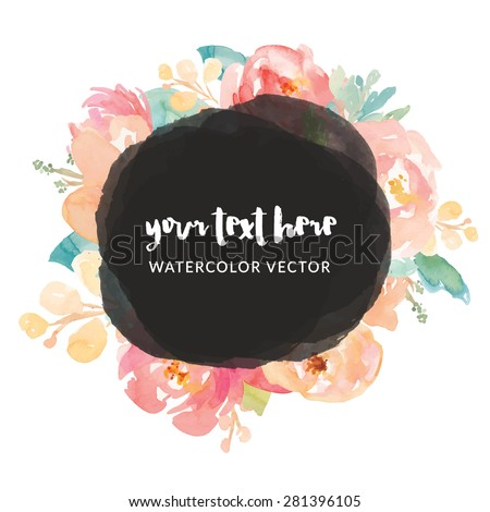 Vector Frame with Circle and Painted Pink Watercolor Flowers
