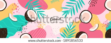 Vector frame with doodle coconut and abstract elements. Hand drawn illustrations.