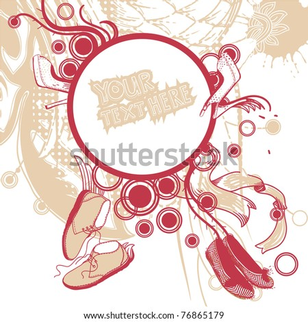 vector frame with fashion shoes and abstract plants - stock vector