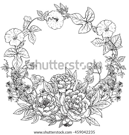 Vector frame with hand drawn wreath of peony flowers and plants on white background. Black and white graphic frame for print, coloring book, invitation card.