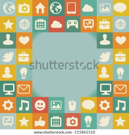 Vector frame with social media icons - abstract background in retro style