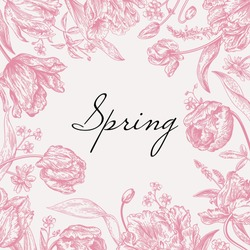 Vector frame with spring flowers in pink. Parrot tulips, me-nots, daisies.