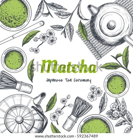 Vector frame with tea. Japanese tea ceremony. Matcha tea. Vintage style