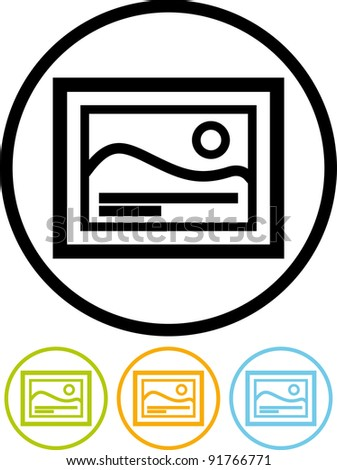 Vector framed image icon - stock vector