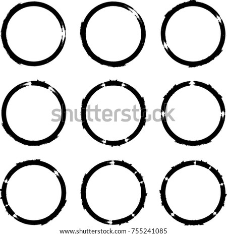 Vector Frames. circle for image. distress texture . Grunge Black borders isolated on the  background . Dirt effect . Round shapes for your design
