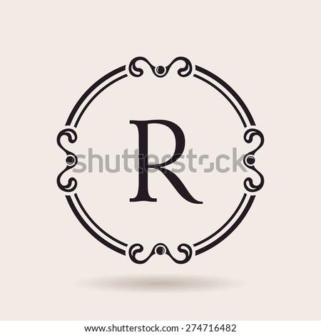 Monogram border frame logo design for letter r download free vector frames design templates vintage labels and badges for logos alphabet letter r spiritdancerdesigns Image collections