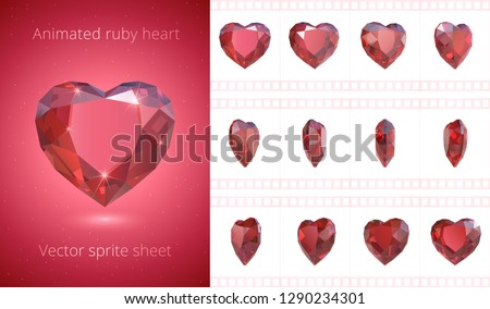 Vector frames of rotating ruby heart. Luxury red crystal Valentine. Symbol of love. Set of 3d realistic icons. 12 frames per second. Looped sequence for GIF, flash and HTML animation. Isolated clipart
