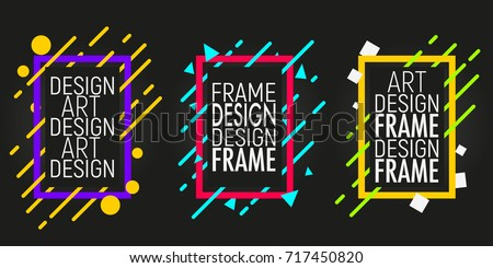Vector frames with geometric shapes. Modern trendy backgrounds for design card, poster, flyer, brochure, cover, banner. Colorful background. #717450820