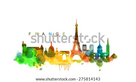 vector france and landmark architecture vector set