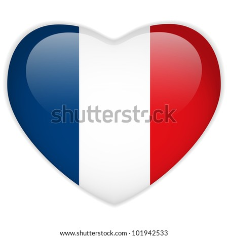 Vector - France Flag Heart Glossy Button