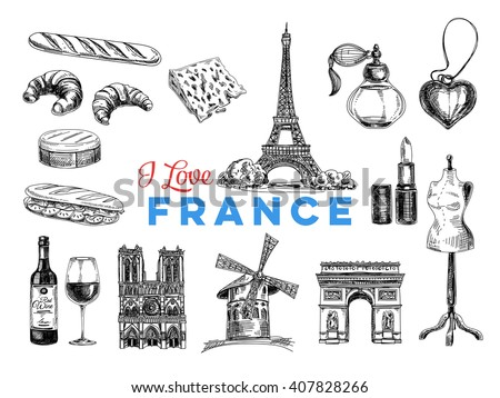 vector france hand drawn