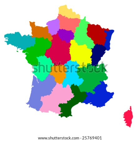 Vector France map with regions