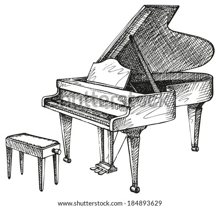 Vector freehand drawing of an open grand piano and stool for a musician
