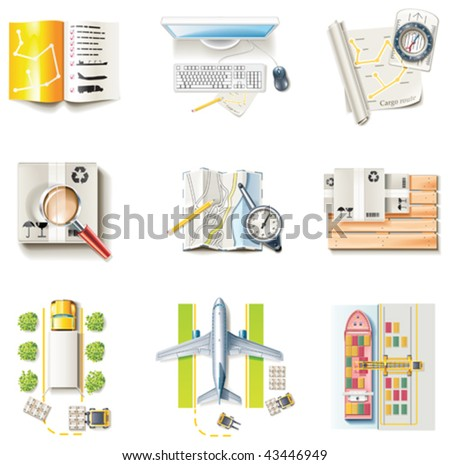 Vector freight transportation and logistic service icon set. Part 1