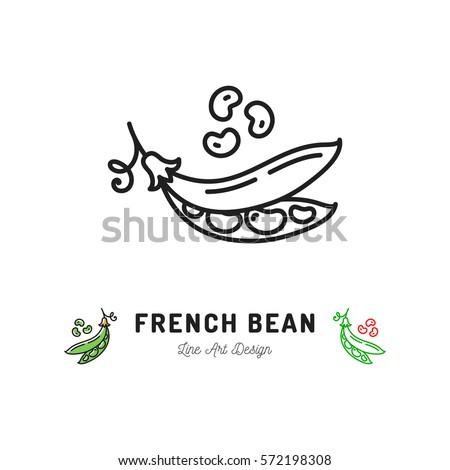 Vector french bean icon Vegetables logo. Thin line art design, outline illustration