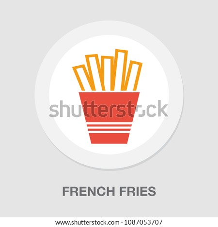 vector french fries box illustration isolated, snack meal