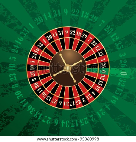 vector french roulette wheel on green grunge background