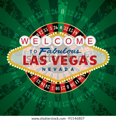 vector french roulette wheel with Las Vegas sign
