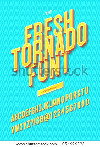 Vector fresh tornado font modern 3d typography sans serif for promotion, party poster, t shirt, sale banner, printing on fabric, decoration