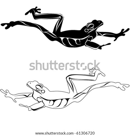 Vector frog silhouettes on the white background