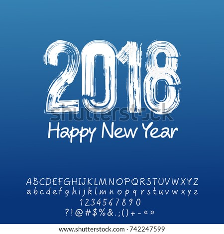 Picnetz Vector Frosty Brush Happy New Year Greeting Card With Set